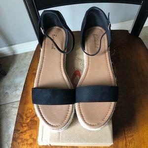 Shoes - Women's black espadrille sandals